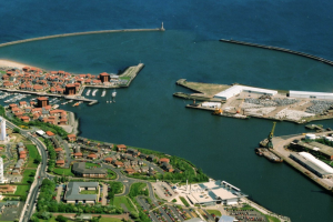 Aerial view of Port of Sunderland and Roker Pier