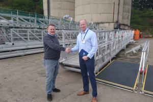 •	Managing Director of Tyne Gangway Ltd, Ken McDonald (L), a keen supporter of Tall Ships events with Tall Ships Races Sunderland 2018 Project Officer Ian Flannery