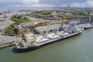 Drone image of Orcun at Port of Sunderland
