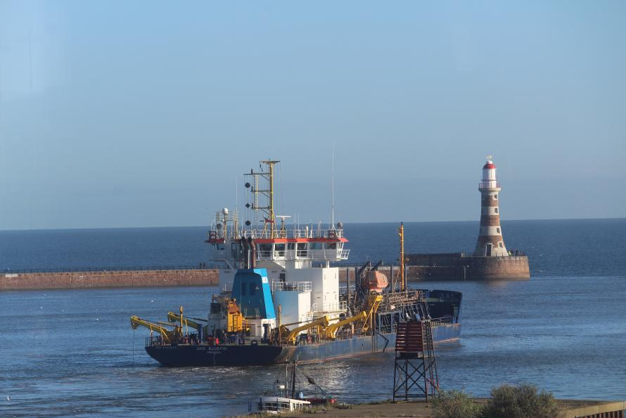 Dredger on River Wear