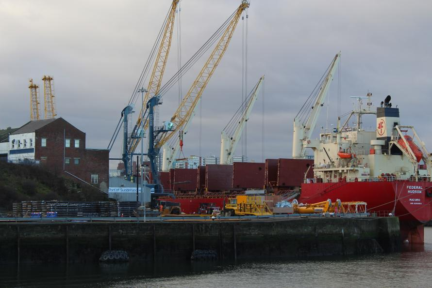 Cranes discharging at Port of Sunderland